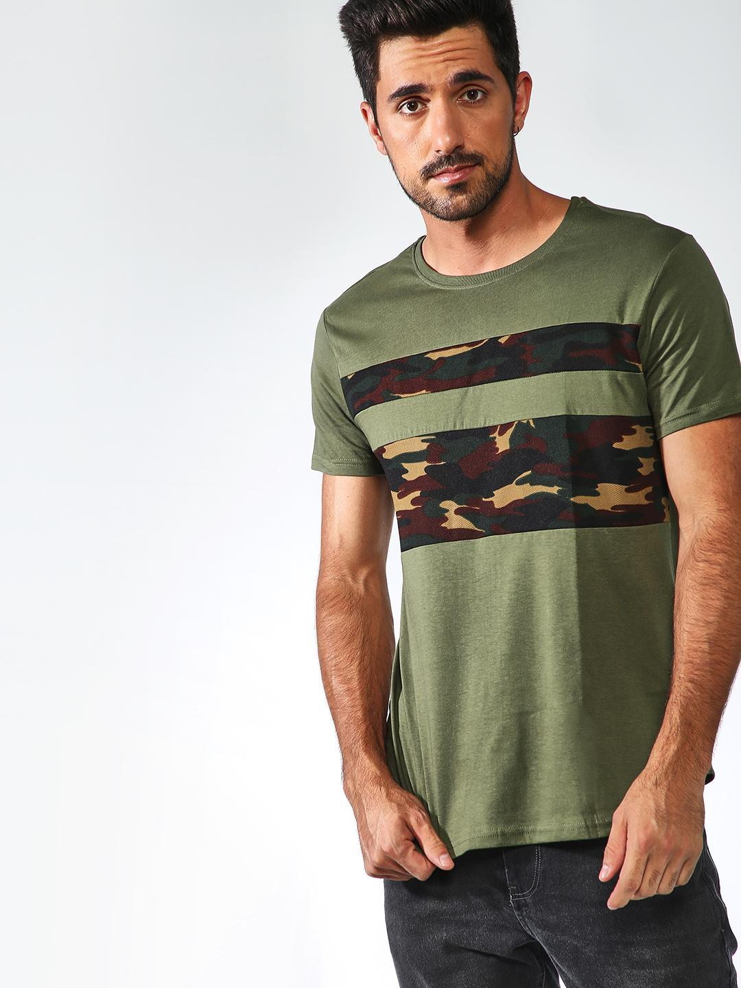 Sheltr Olive Contrast Camo Panel Crew Neck T-Shirt 1