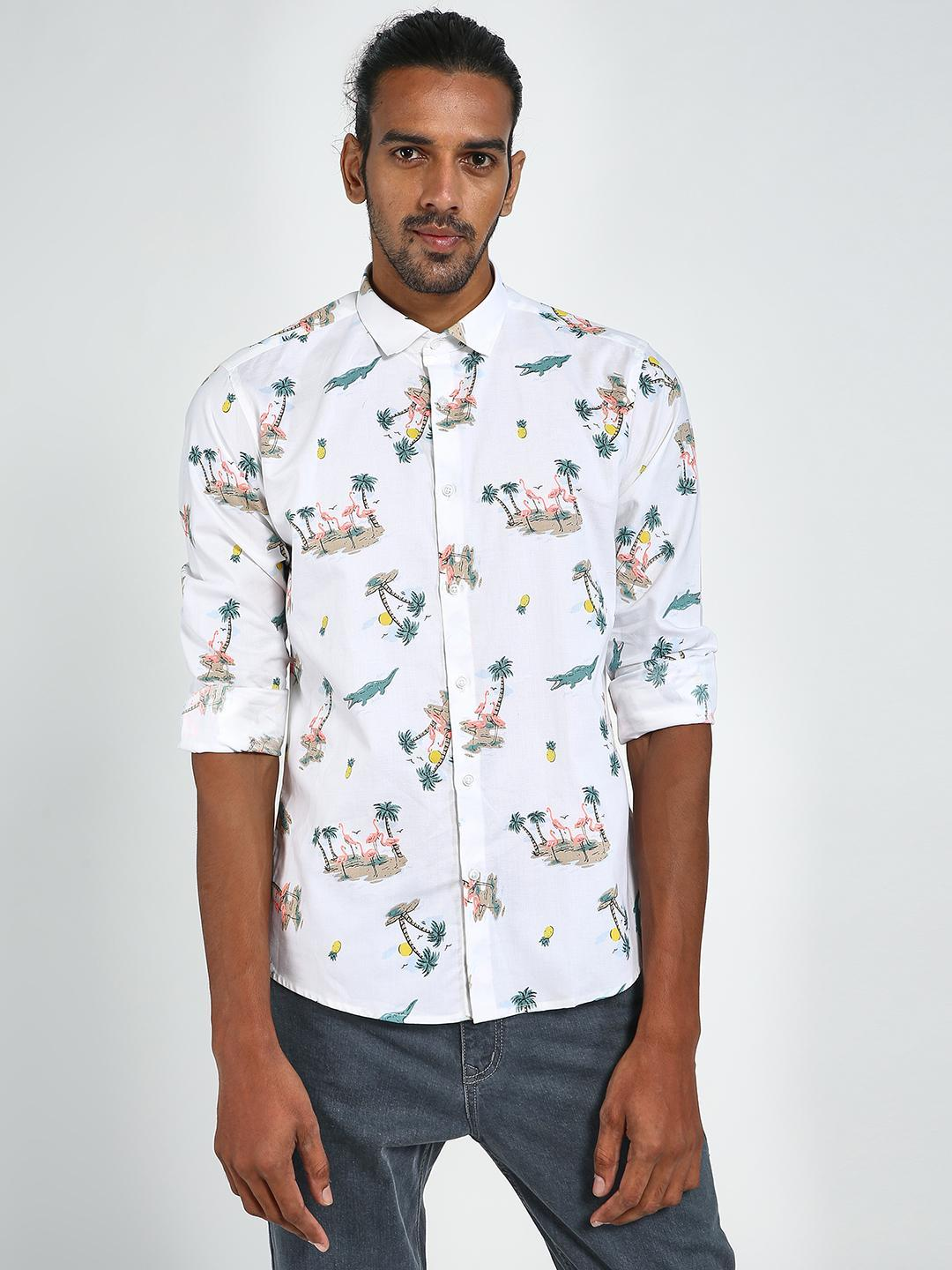 Green Hill White All Over Print Slim Fit Shirt 1