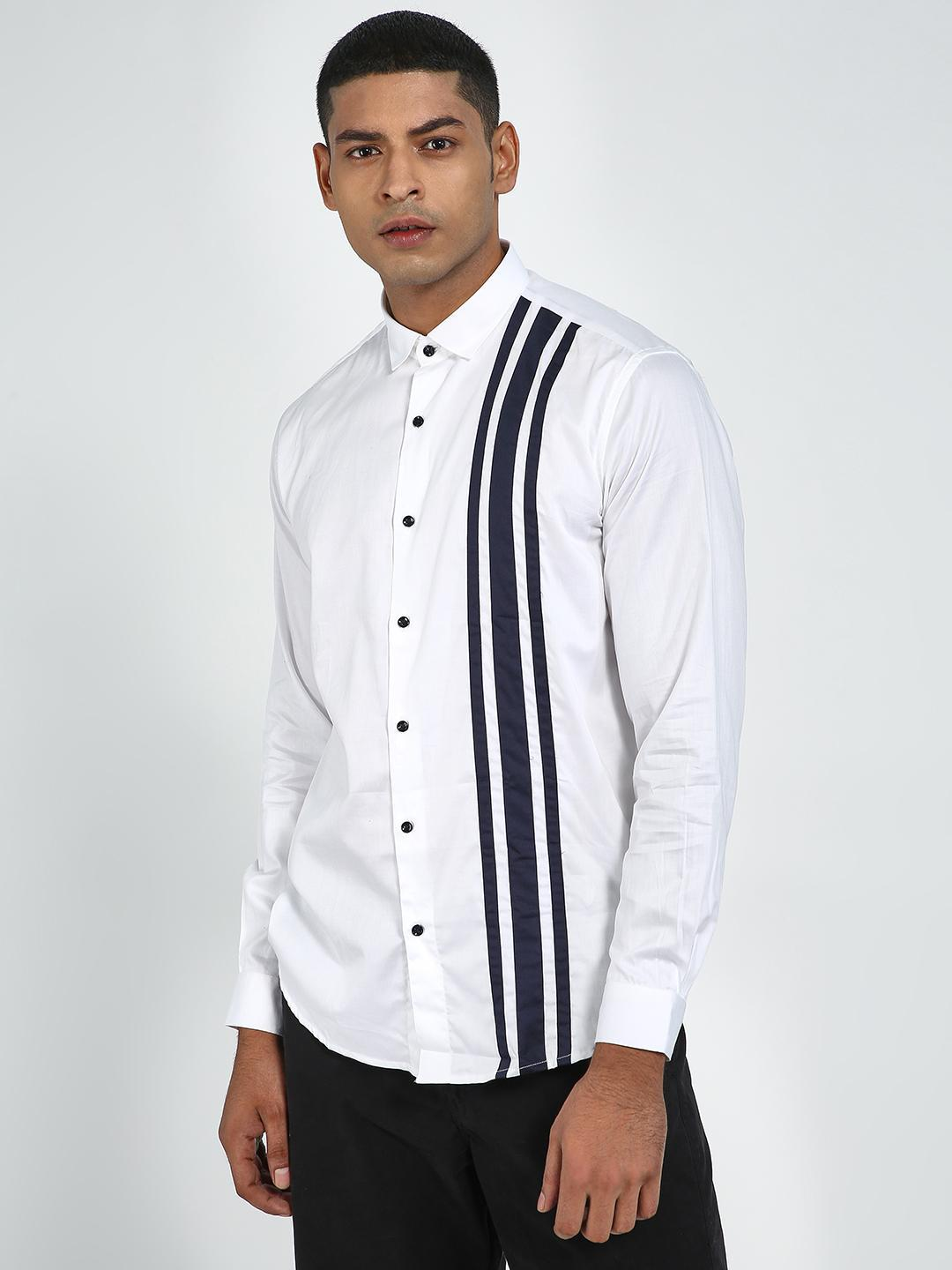 Green Hill White Striped Slim Fit Casual Shirt 1