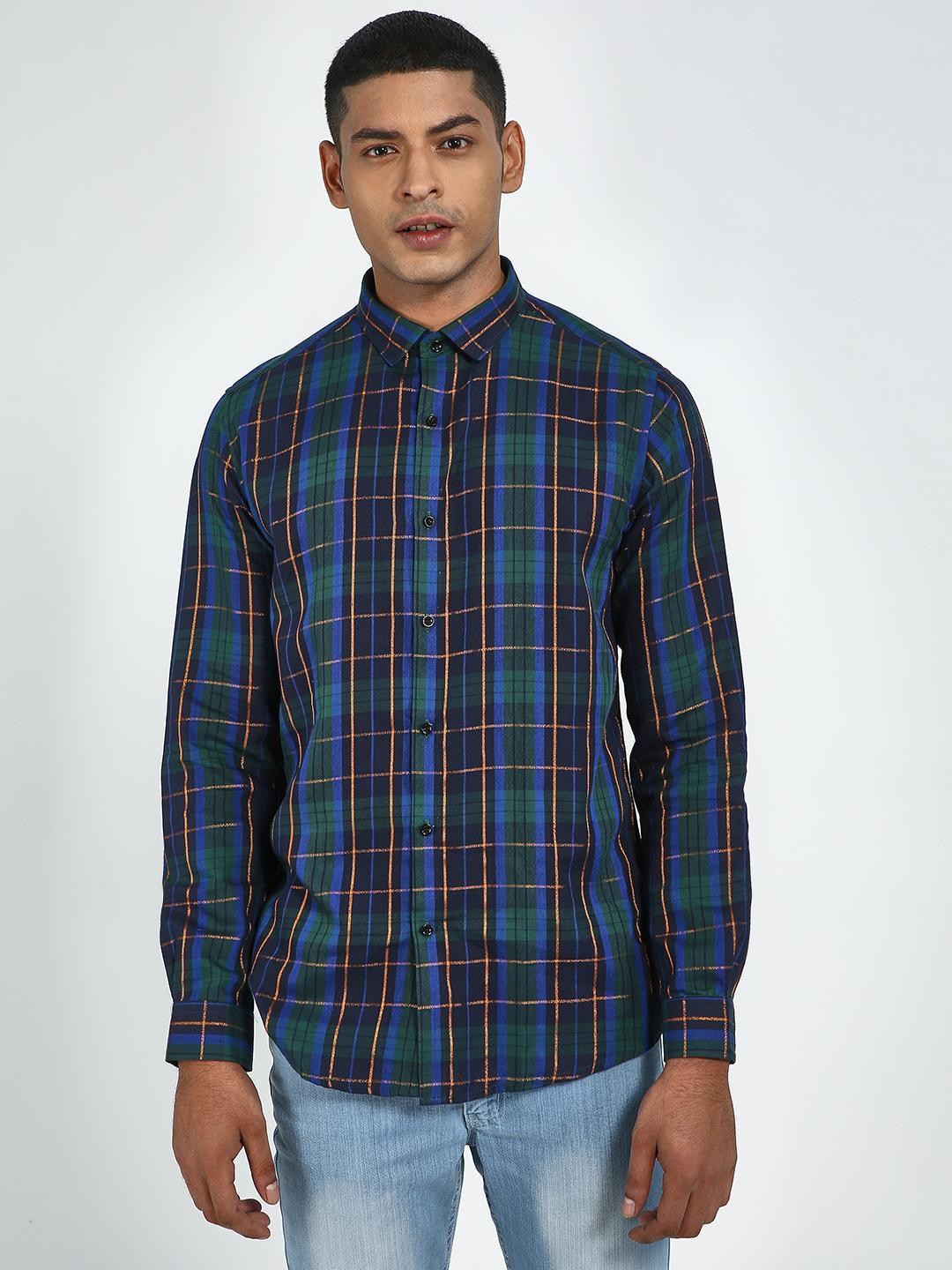 Green Hill Blue Multicolor Slim Fit Checkered Shirt 1