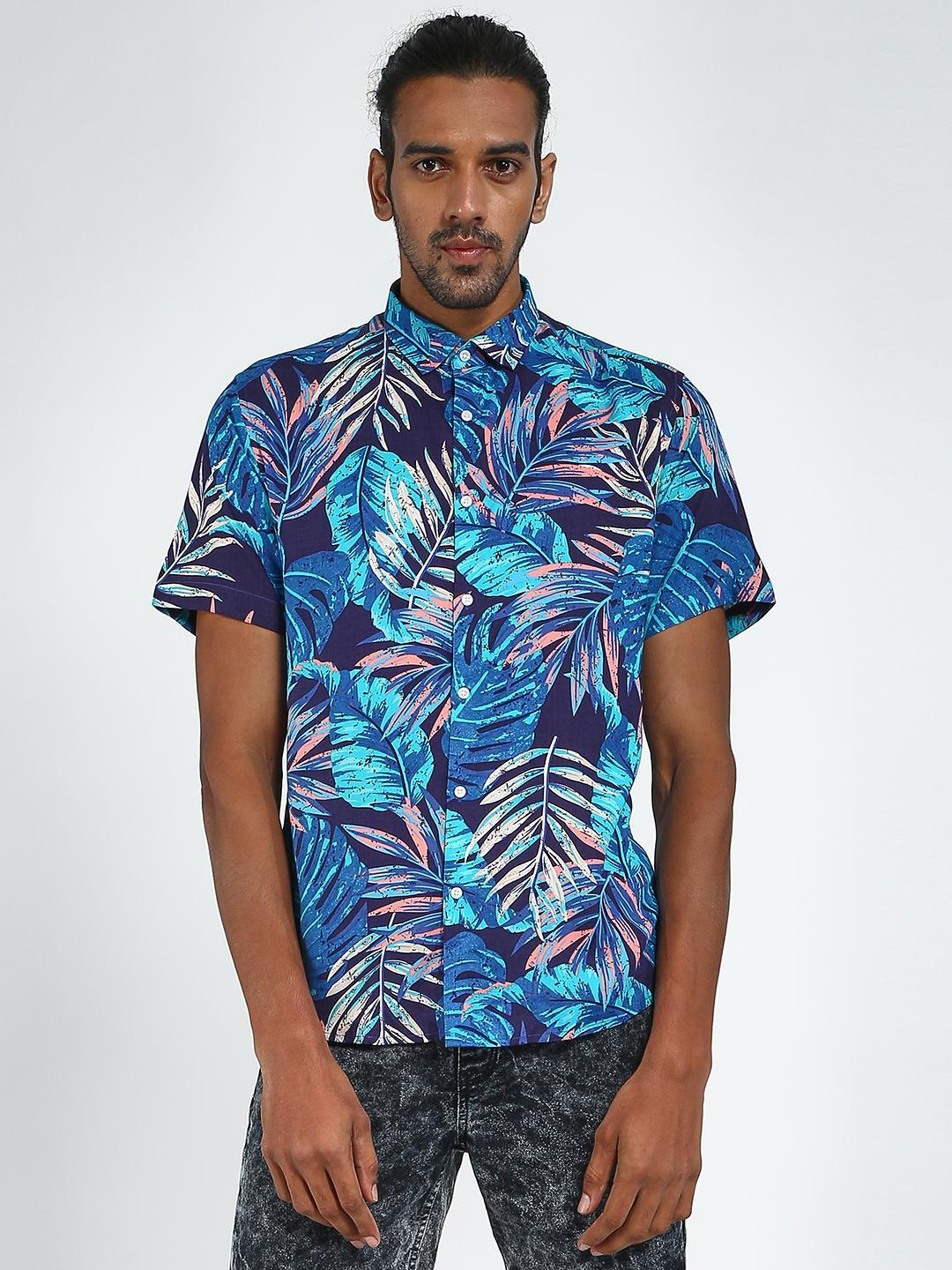 Green Hill Blue All Over Printed Casual Shirt 1