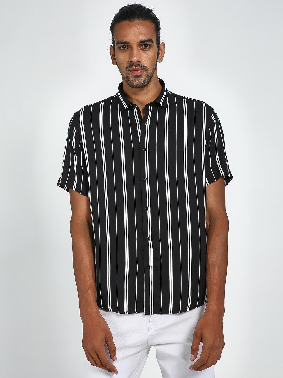 Green Hill Black Vertical Stripe Shirt 1