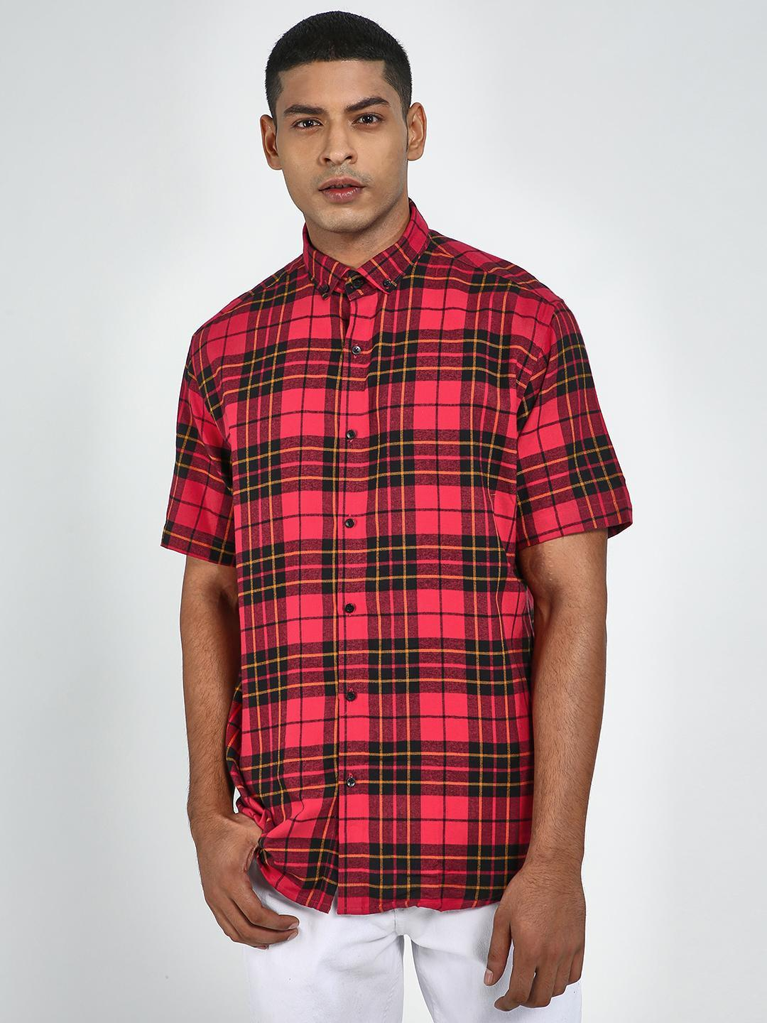 Green Hill Red Men's Slim Fit Chequered Shirt 1