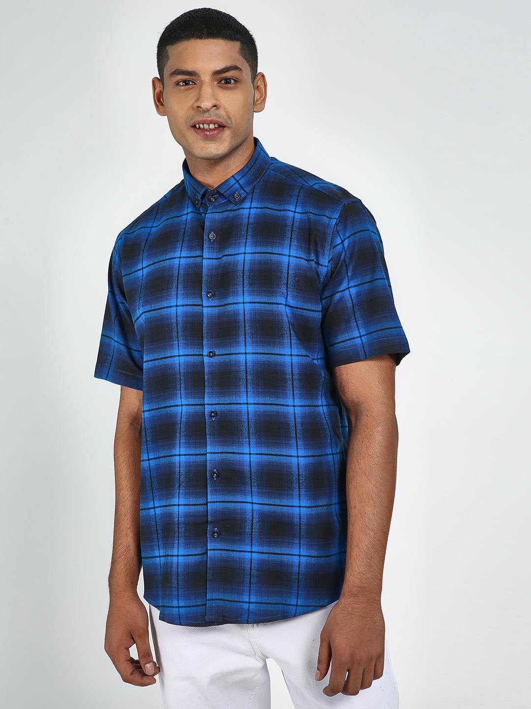 Green Hill Blue Men's Slim Fit Chequered Shirt 1