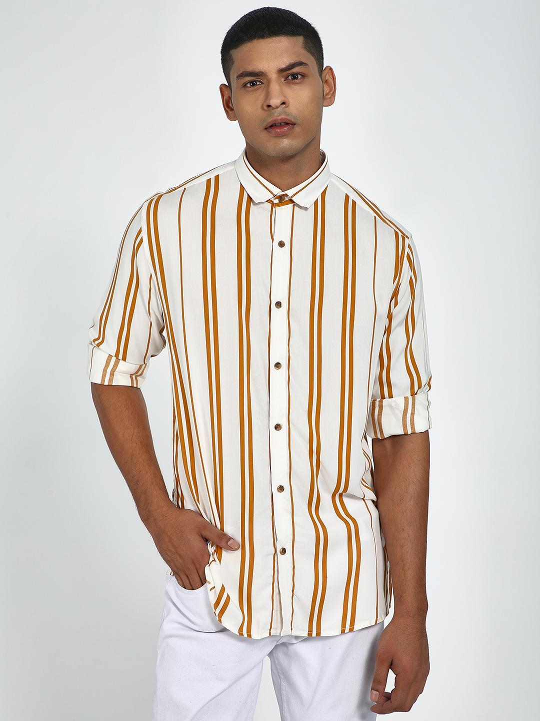 Green Hill Yellow All Over Vertical Slim Fit Casual Shirt 1