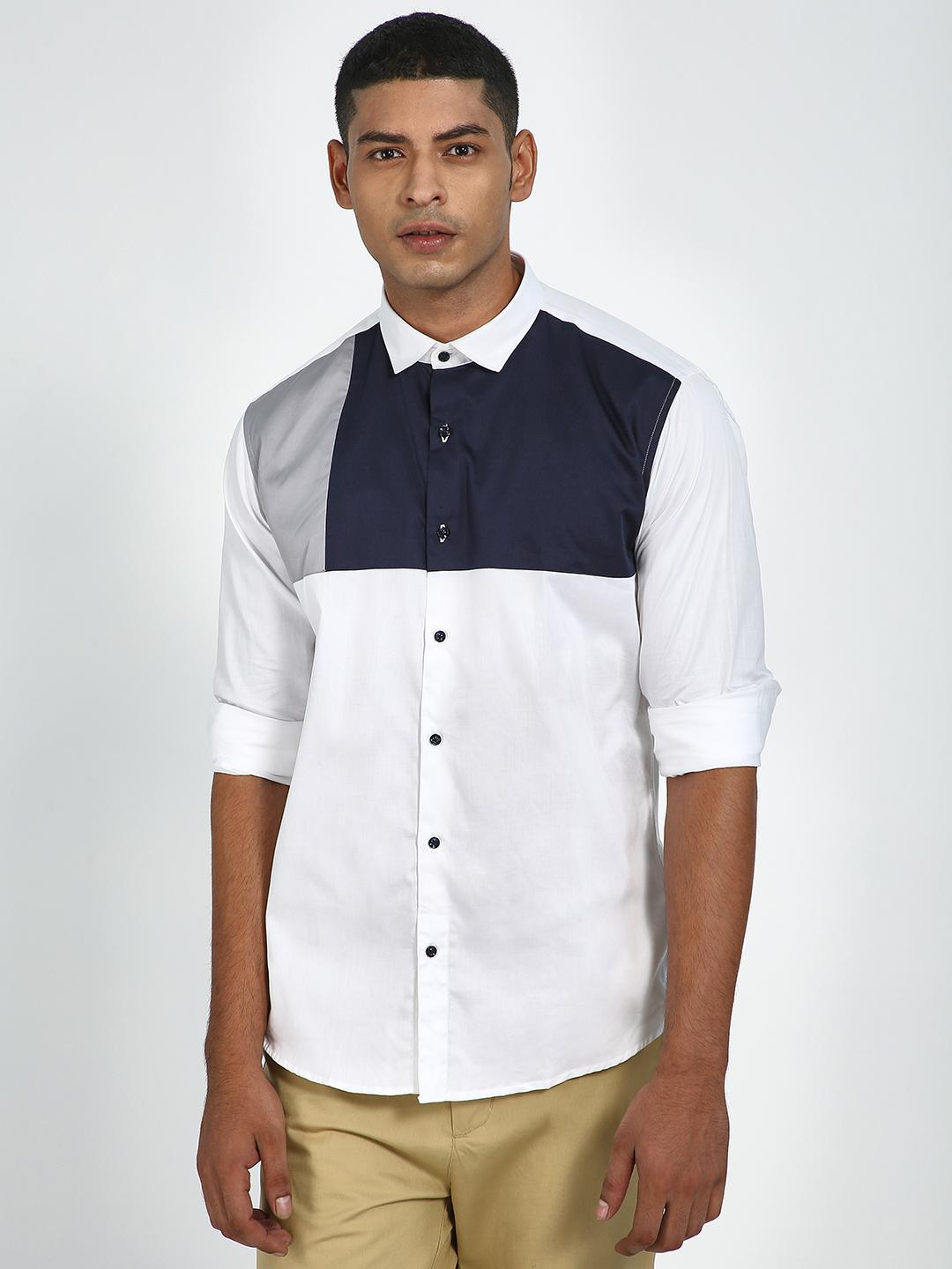 Green Hill White Men's Color Block Casual Shirt 1