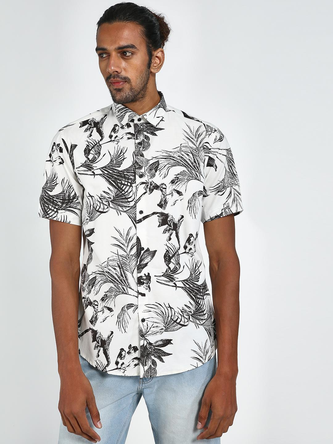 Green Hill Black/White All Over Printed Men's Casual Shirt 1