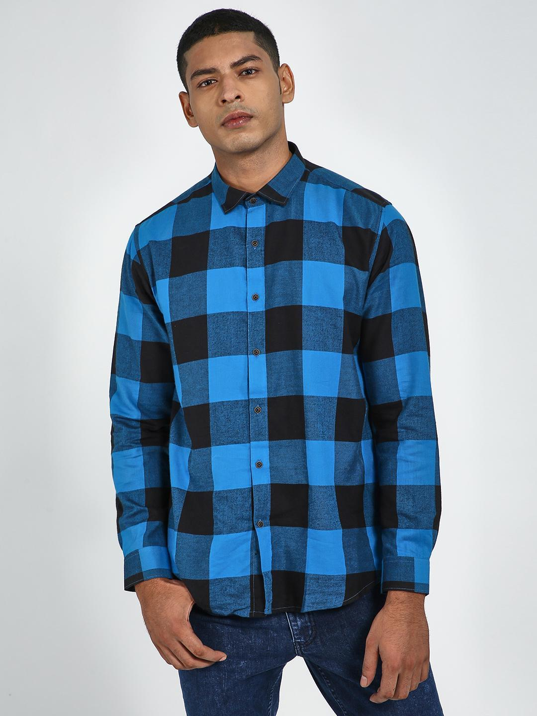 Green Hill BLUE/BLACK  Checkered Long Sleeve Shirt 1