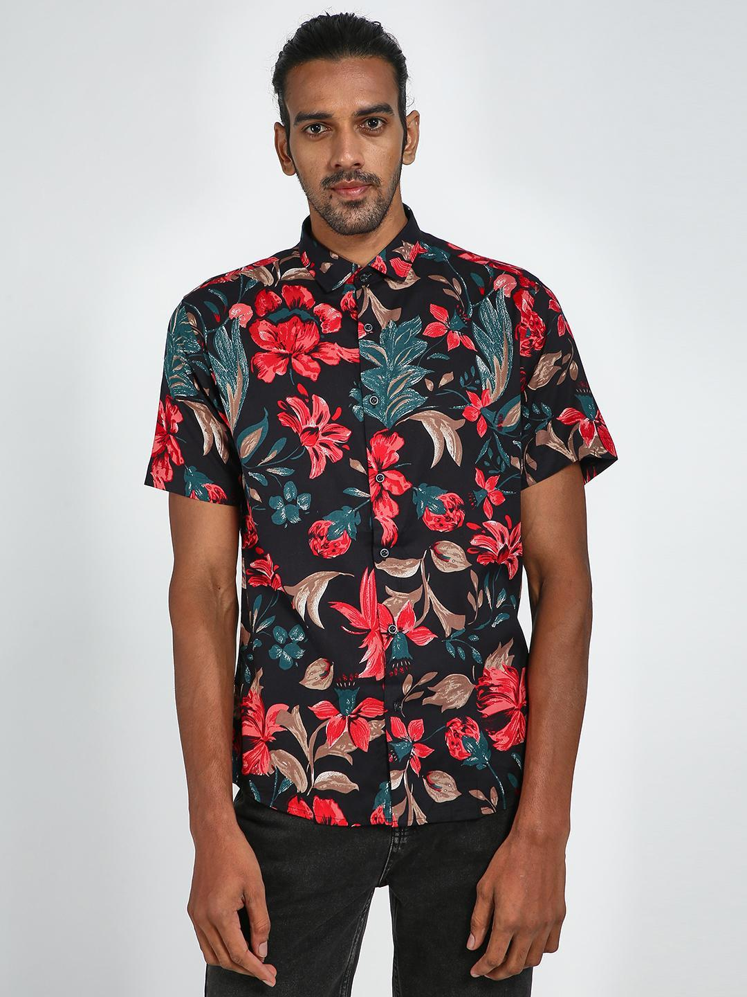 Green Hill Red All Over Floral Printed Shirt 1