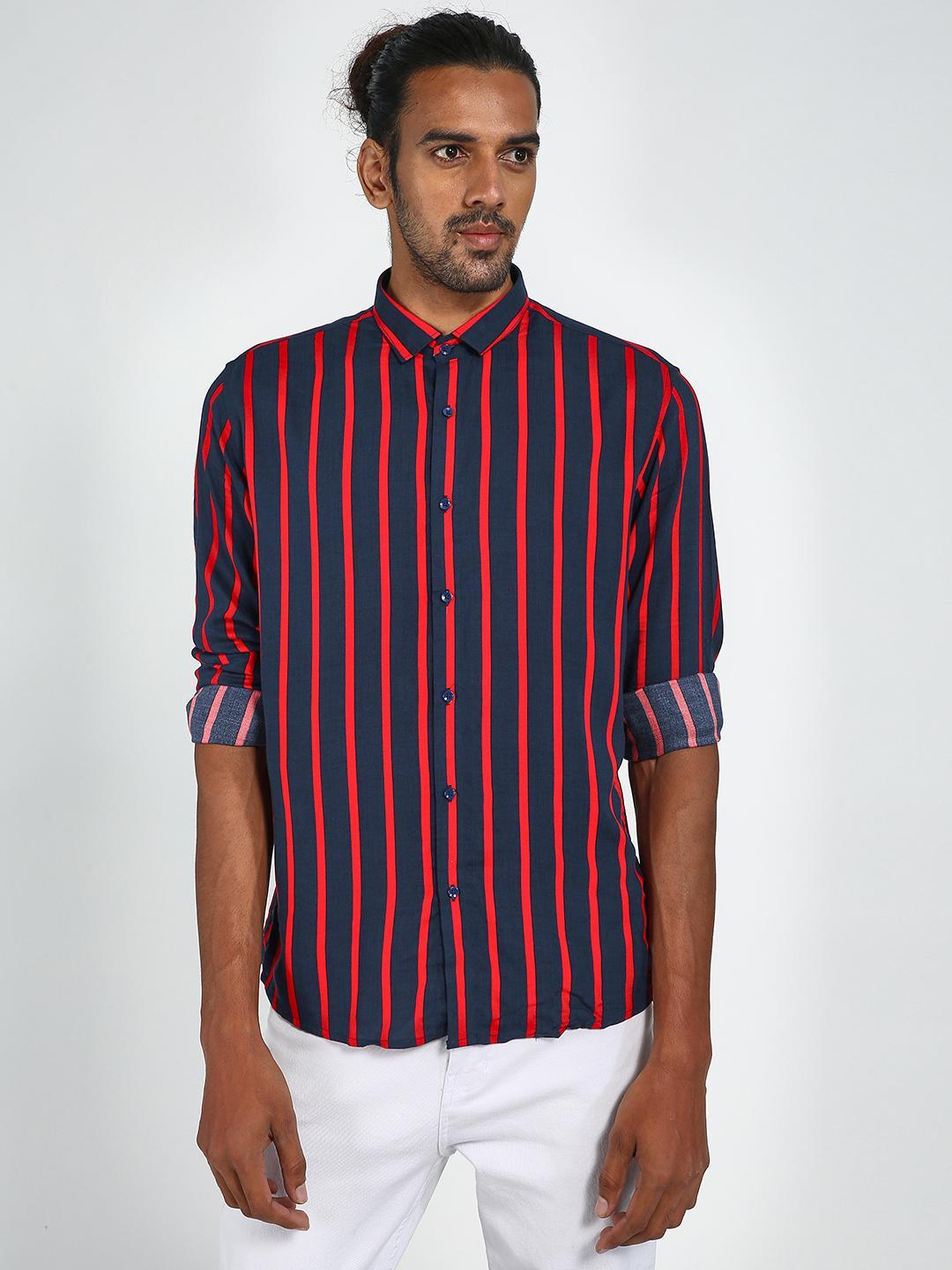 Green Hill Red Basic Vertical Slim Fit Shirt 1