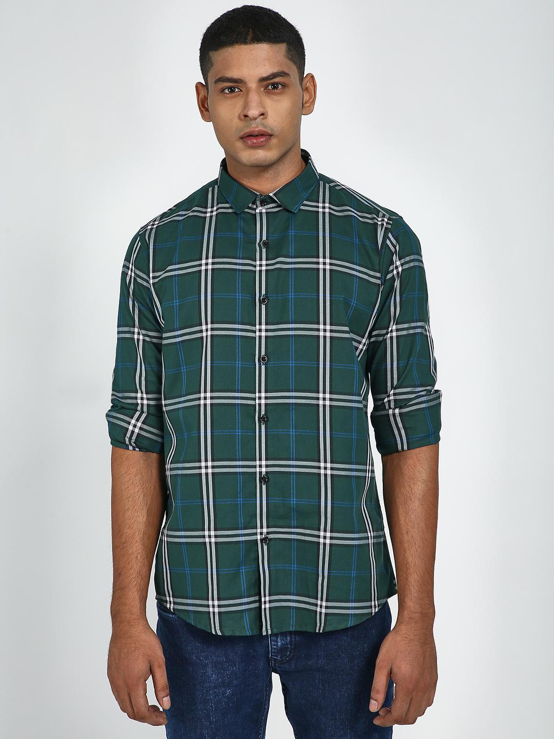 Green Hill Green All Over Check Print Causal Shirt 1
