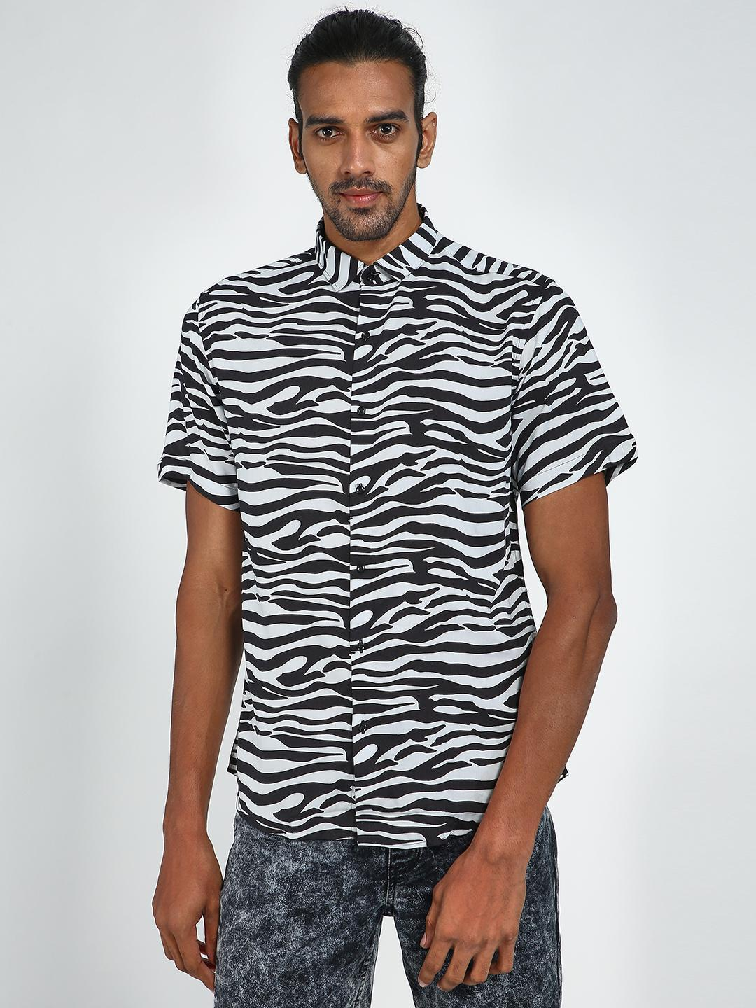 Green Hill WHITE/BLACK Zebra Print Casual Shirt 1