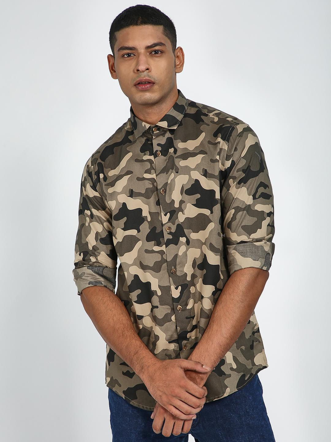 Green Hill Olive Camo Print Slim Fit Shirt 1
