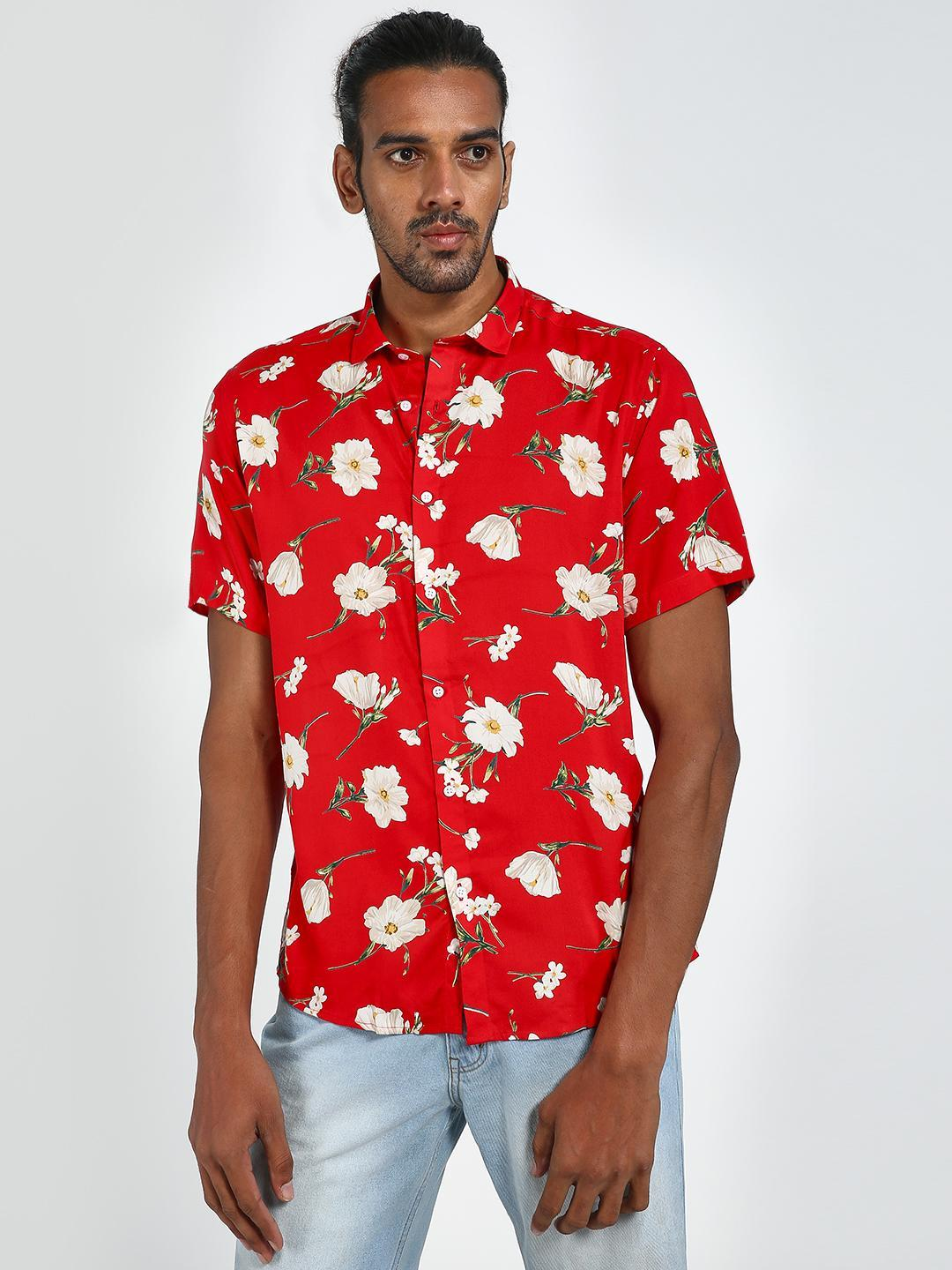 Green Hill Red Floral Print Casual Shirt 1