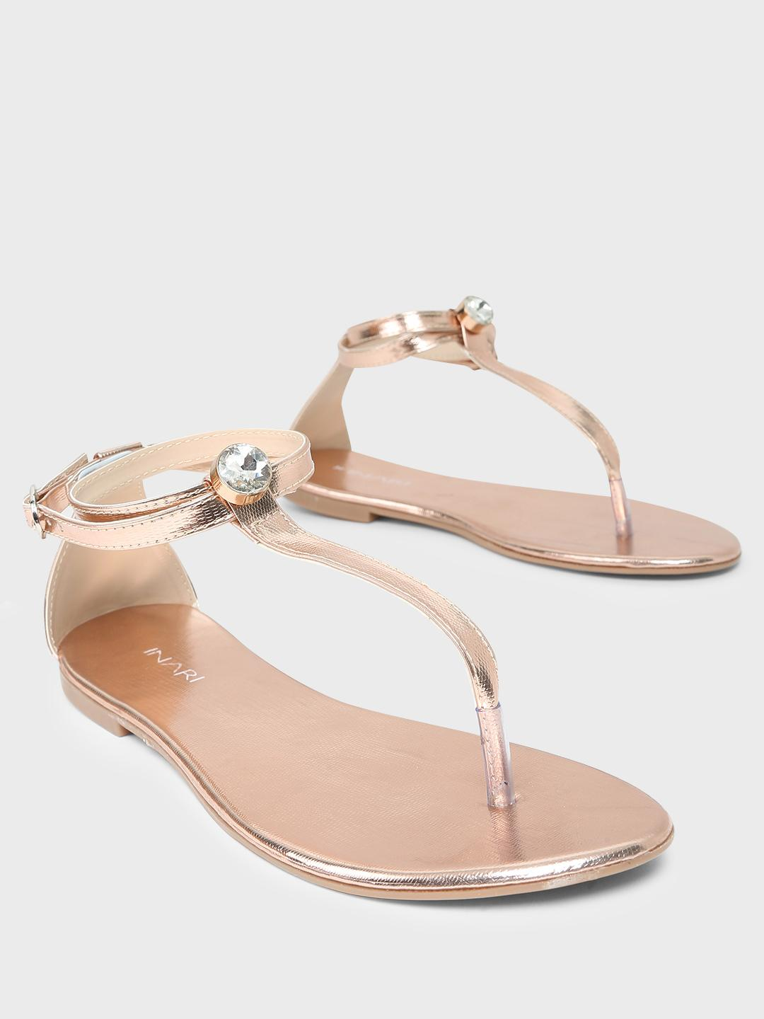INARI Rose Gold Studded T-Strap Flat Sandals 1