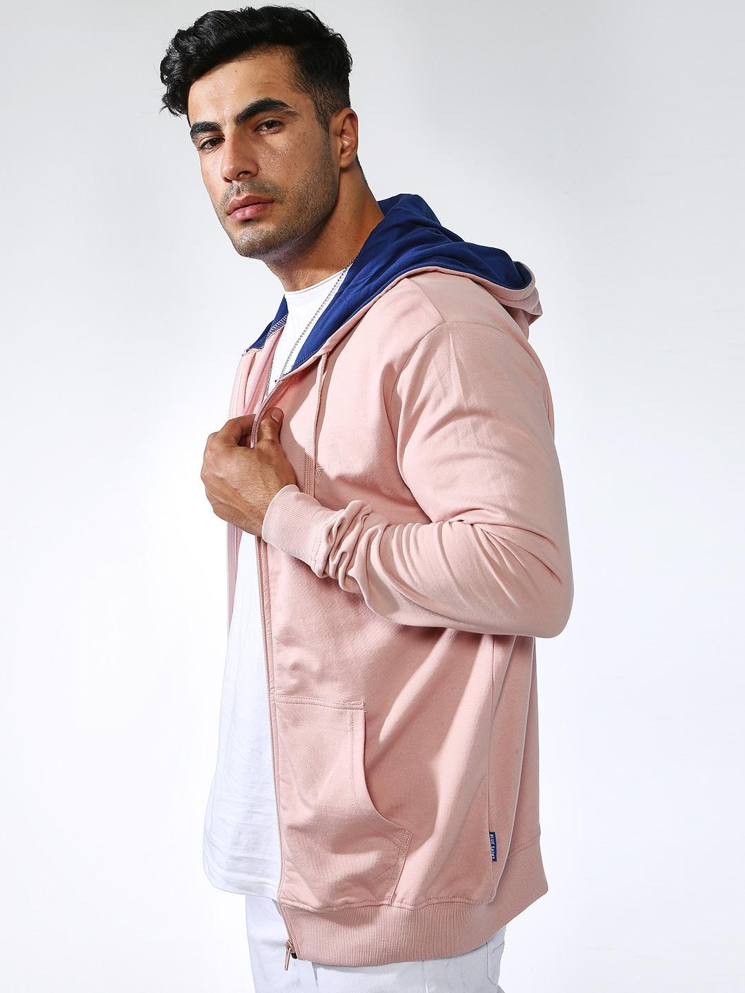Blue Saint Pink Hooded Basic Sweatshirt 1