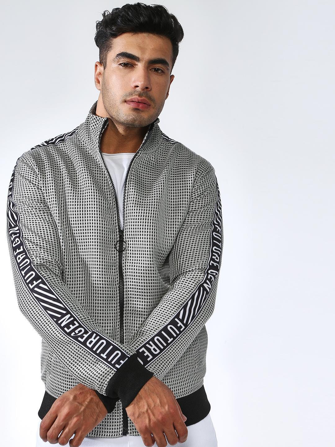 SID & SOM Grey Side Tape Checkered Bomber Jacket 1