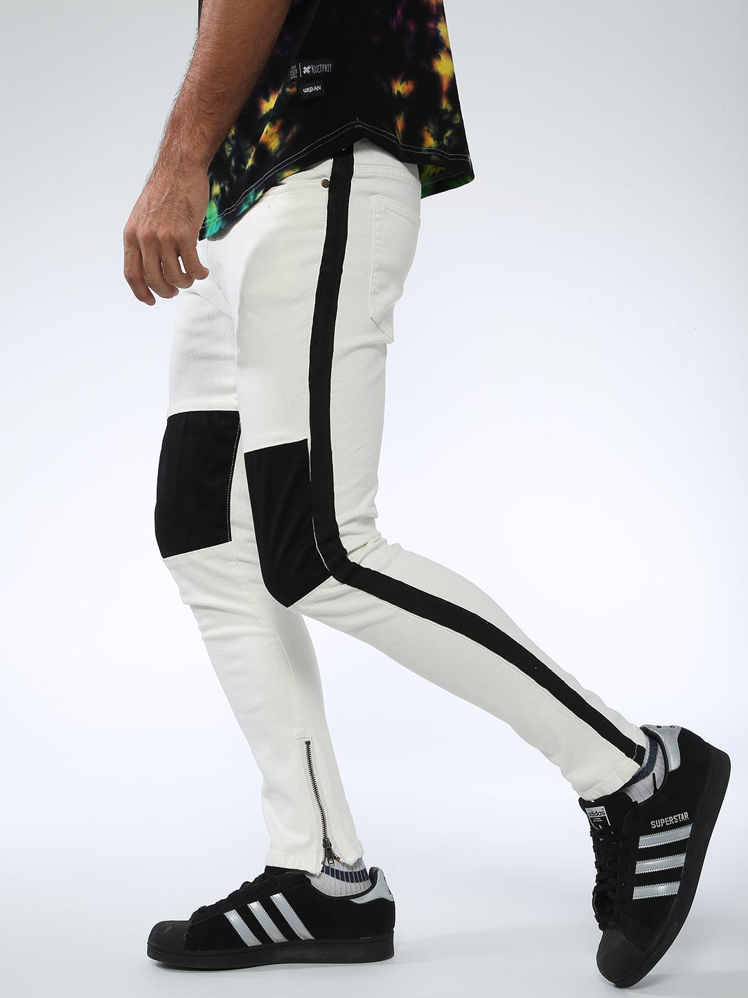 Kultprit White Side Tape and Knee Patchwork Jeans 1