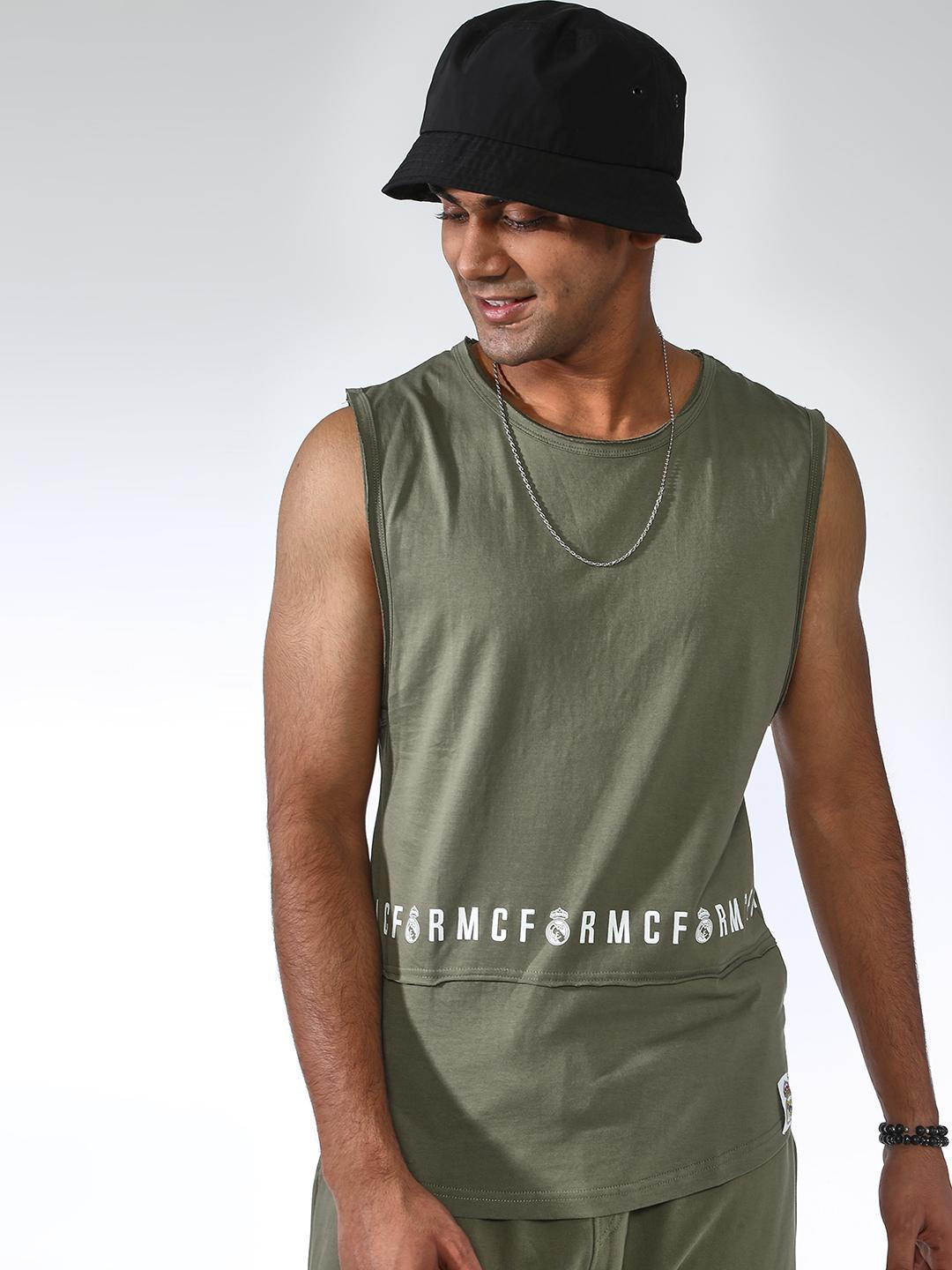 REAL MADRID Olive Cut and Sew Text Print Tank 1