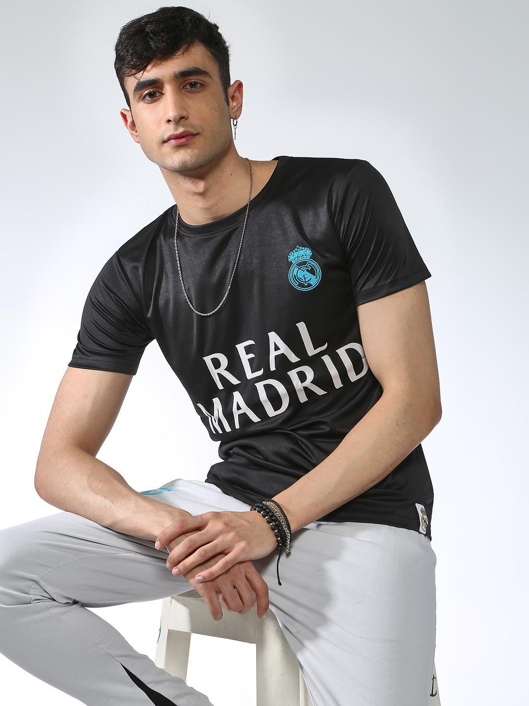 REAL MADRID Black Back Numeric Placement Print Crew Neck T-shirt 1