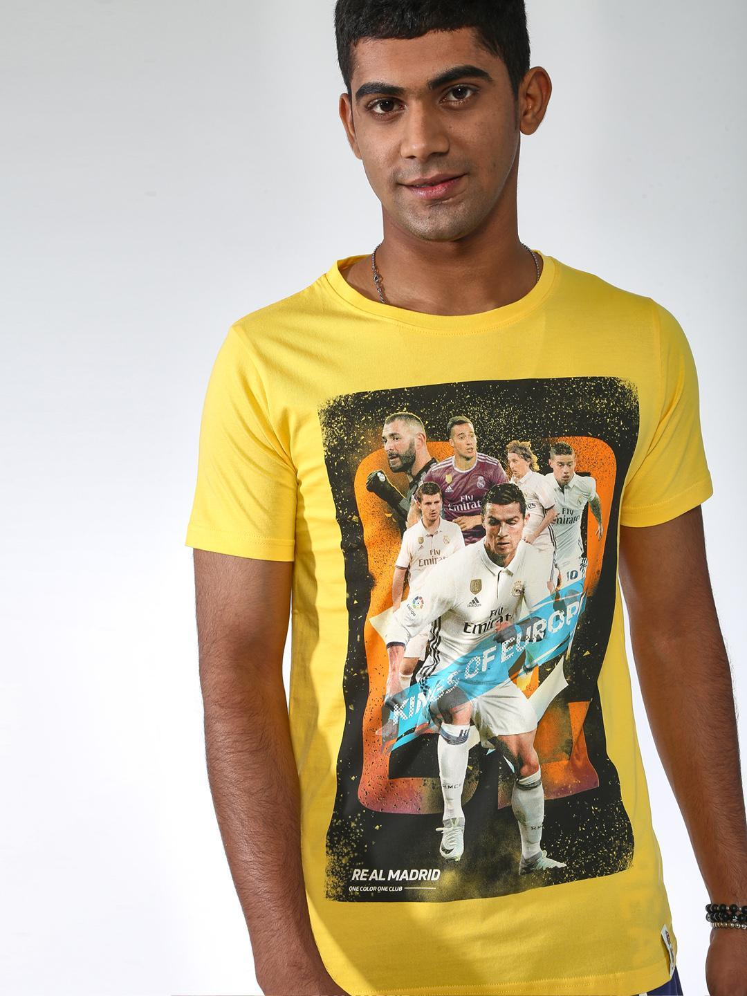REAL MADRID Yellow Placement Print Short Sleeves T-shirt 1