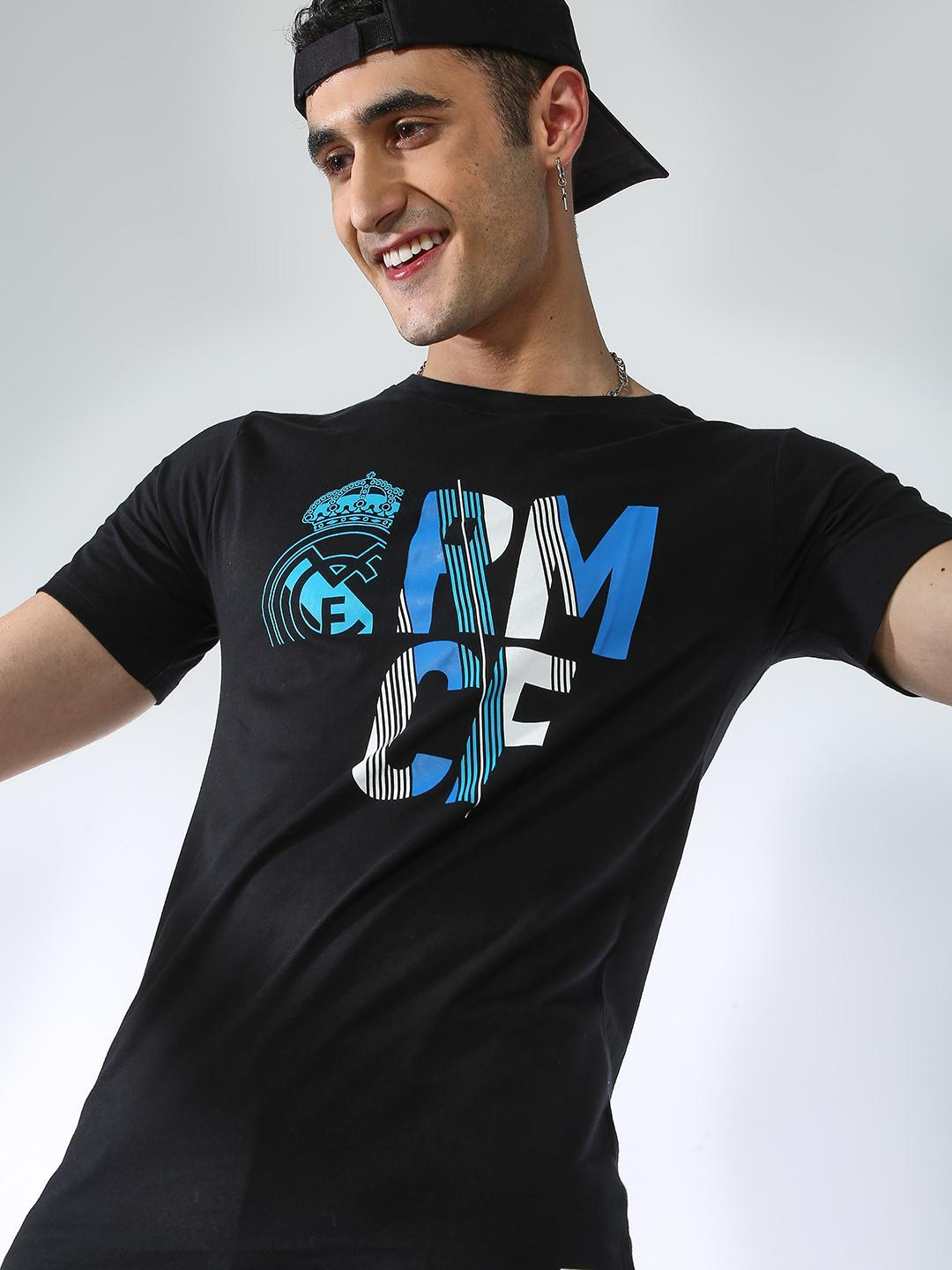 REAL MADRID Black Placement Printed  T-shirt 1