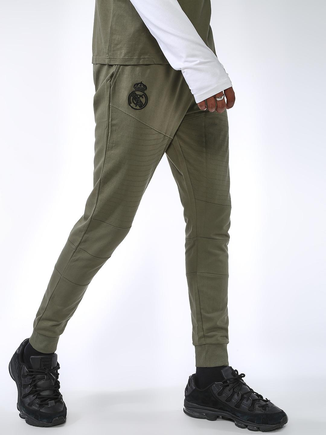 REAL MADRID Olive Biker Panel Slim Fit Jog Pants 1
