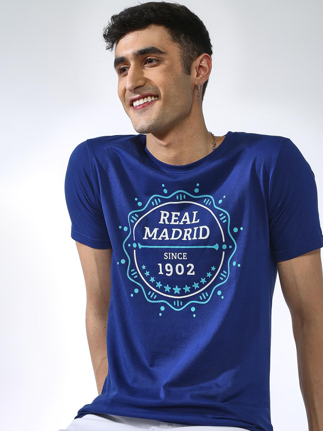 REAL MADRID Blue Placement Print T-shirt 1