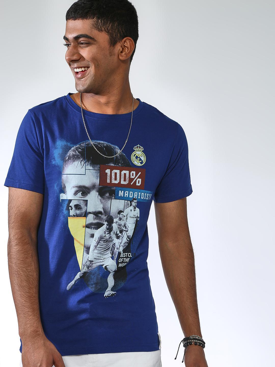 REAL MADRID Blue Graphic Slim Fit T-Shirt 1