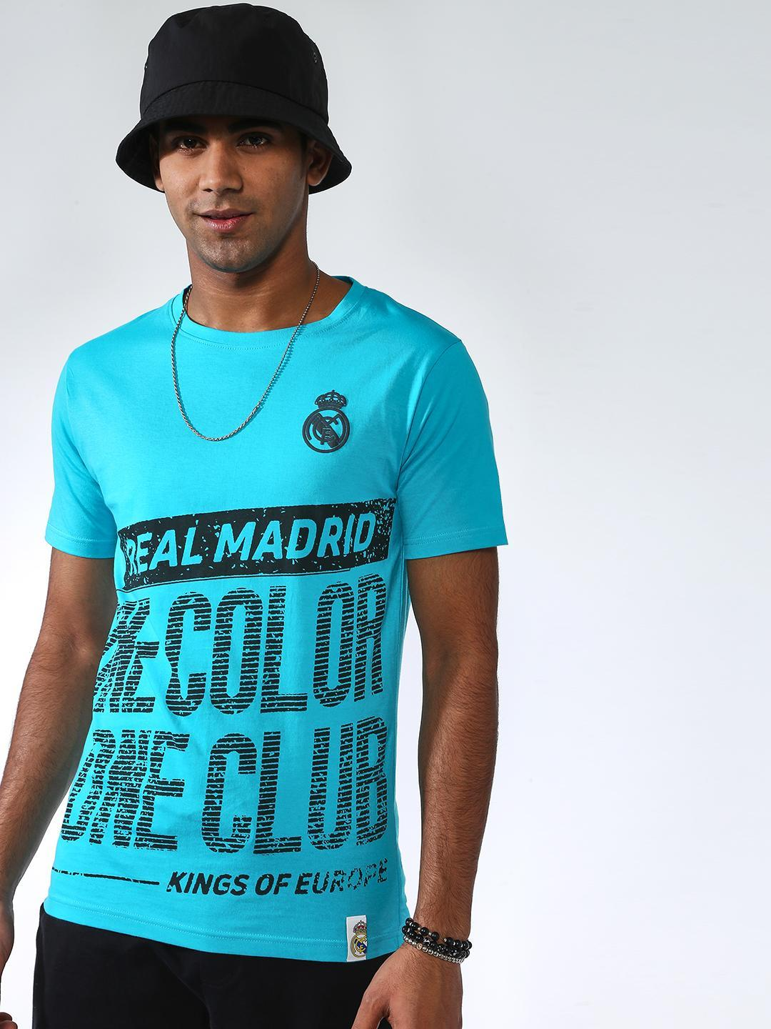 REAL MADRID Blue Placement Print Short Sleeves T-shirt 1