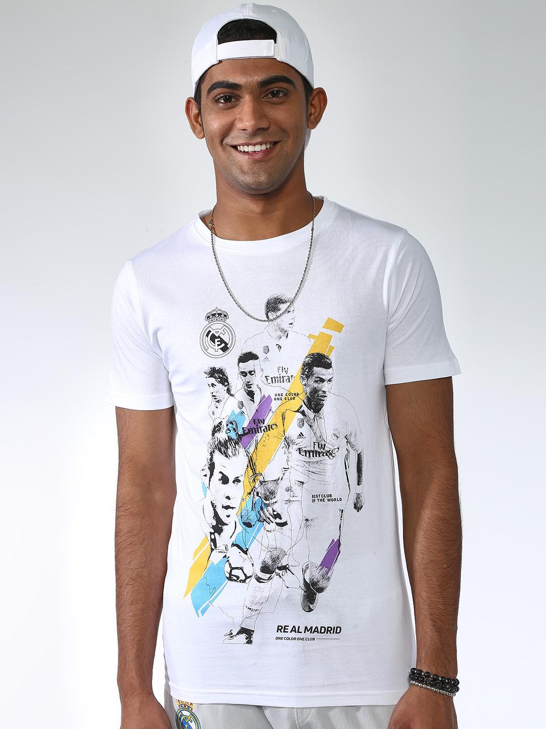 REAL MADRID White Placement Print Crew Neck T-shirt 1