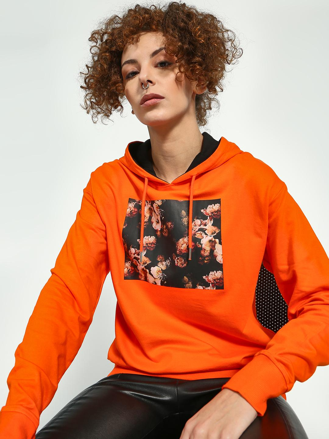 Blue Saint Orange Floral Printed Sweatshirt 1