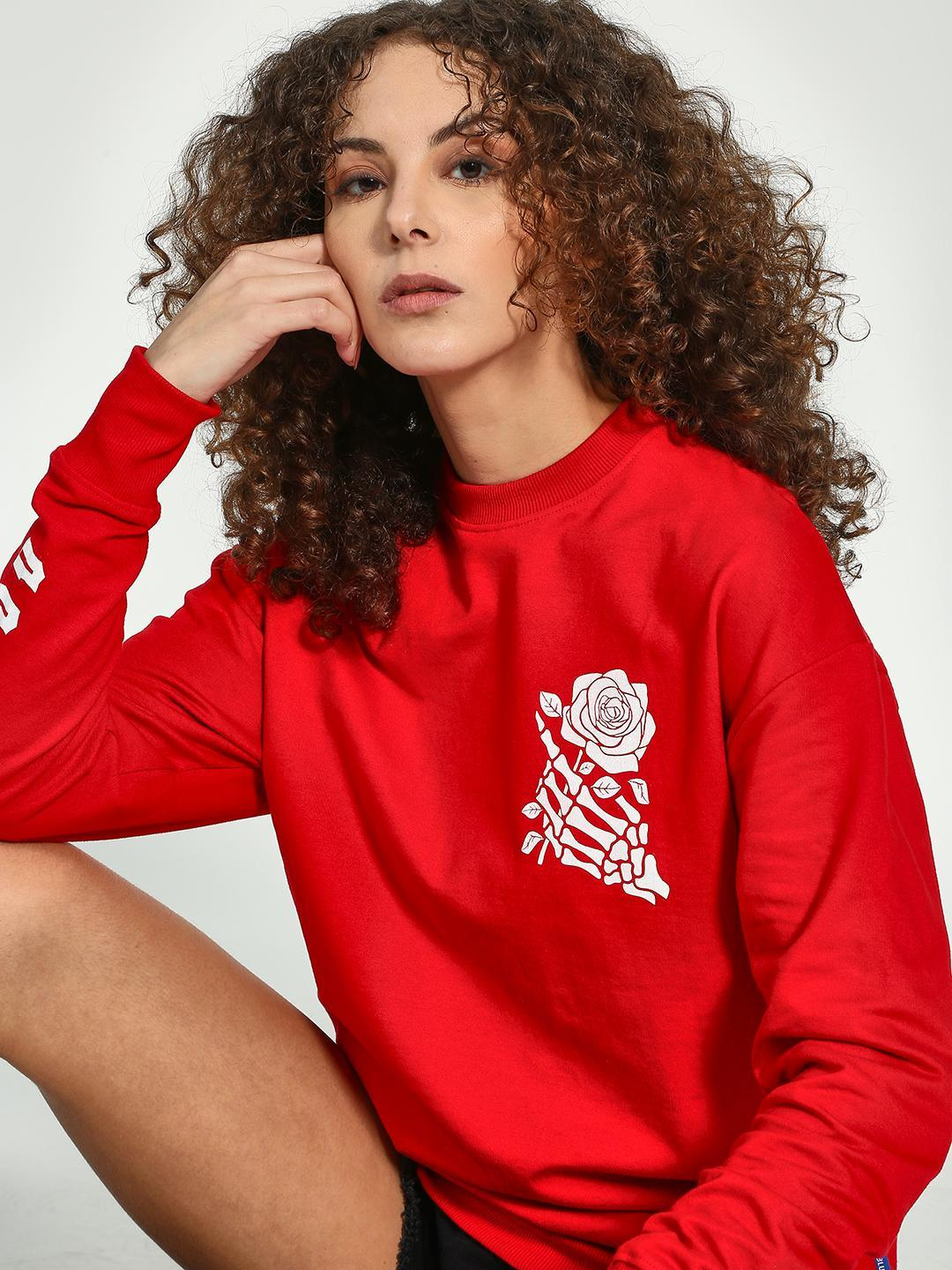 Blue Saint Red Skeleton Rose Print Sweatshirt 1