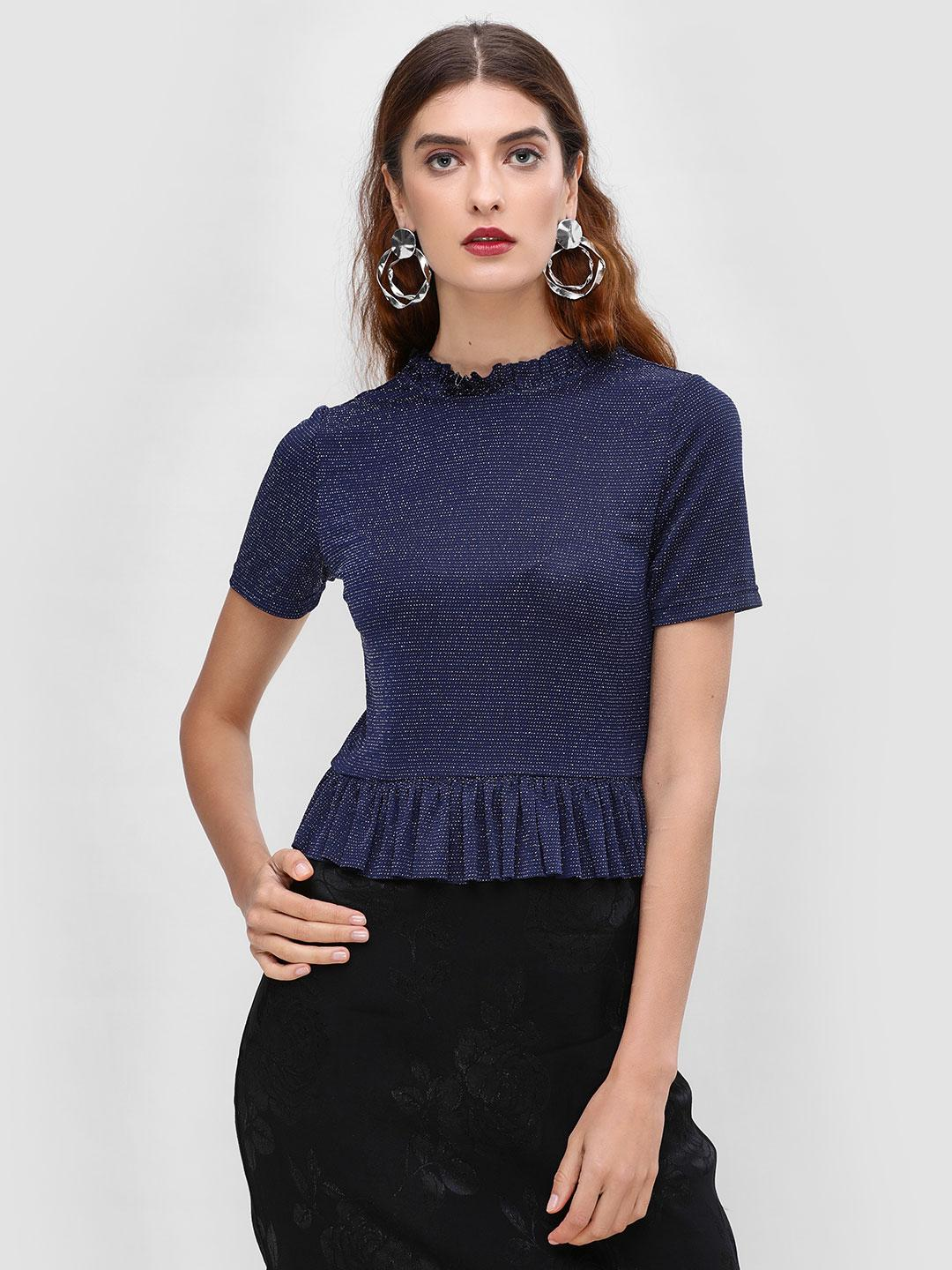 Cover Story Navy Peplum Blouse With Neck Detail 1