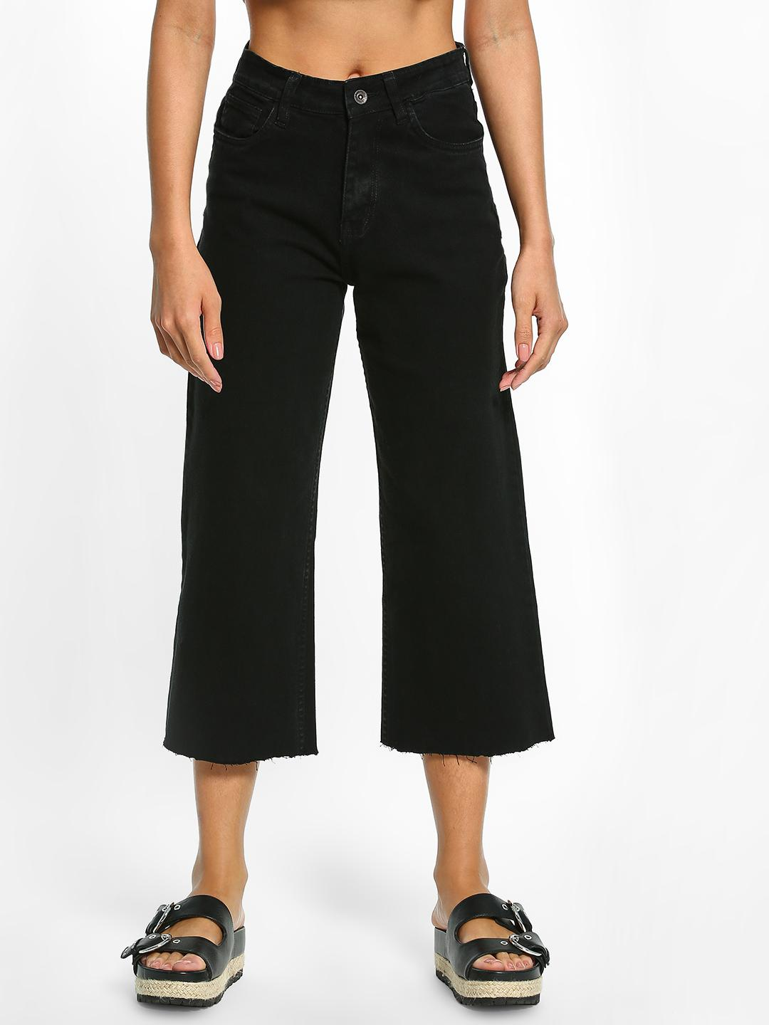 K Denim Black KOOVS Basic Cropped Straight Jeans 1