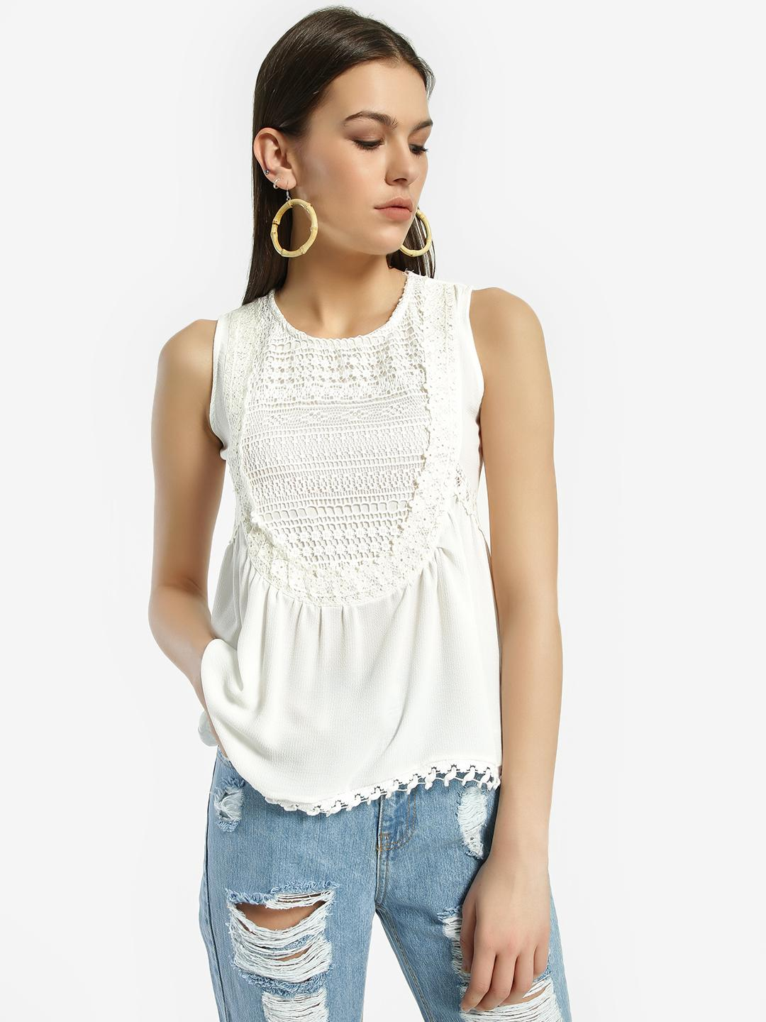 Privy League White Lace Yoke Sleeveless Blouse 1