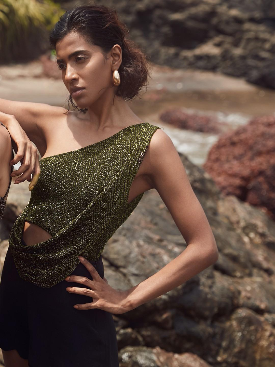 Shivan & Narresh X KOOVS Golden One Shoulder Shimmer Detail Bodysuit 1