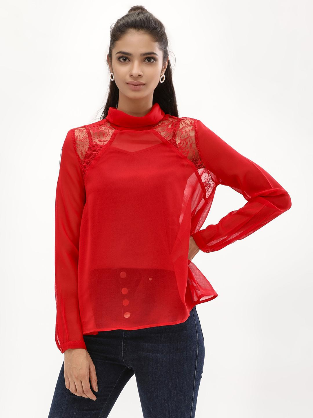 KOOVS Red Swing Collared Blouse 1