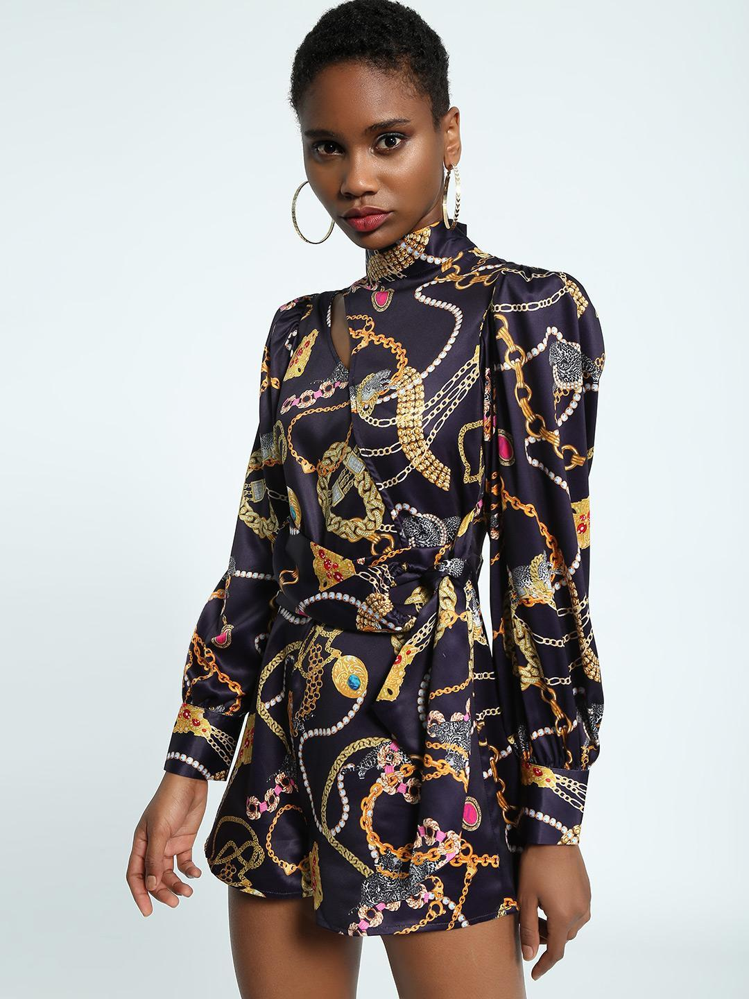 KOOVS Multi Baroque Chain Print Playsuit 1