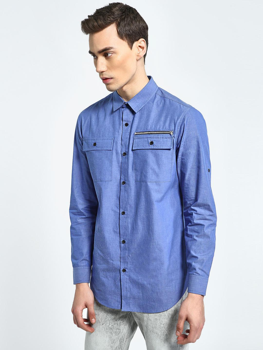 CHELSEA KING Blue Twin Pocket Casual Shirt 1