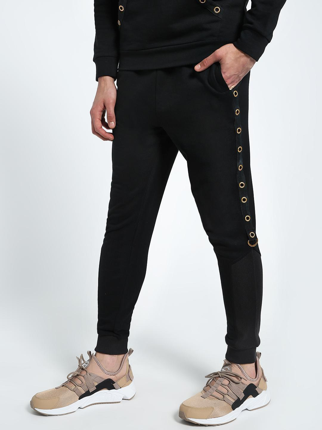CHELSEA KING Black Eyelet Side Tape Slim Joggers 1