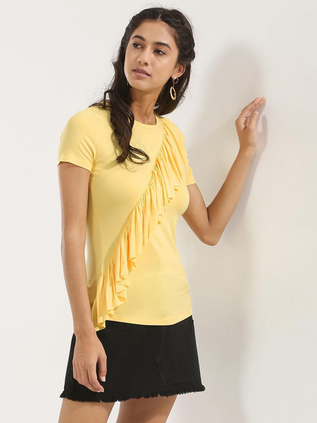 KOOVS Yellow Ruffle Front Top 1