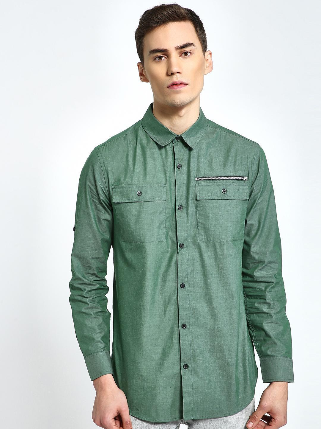 CHELSEA KING Olive Twin Pocket Casual Shirt 1
