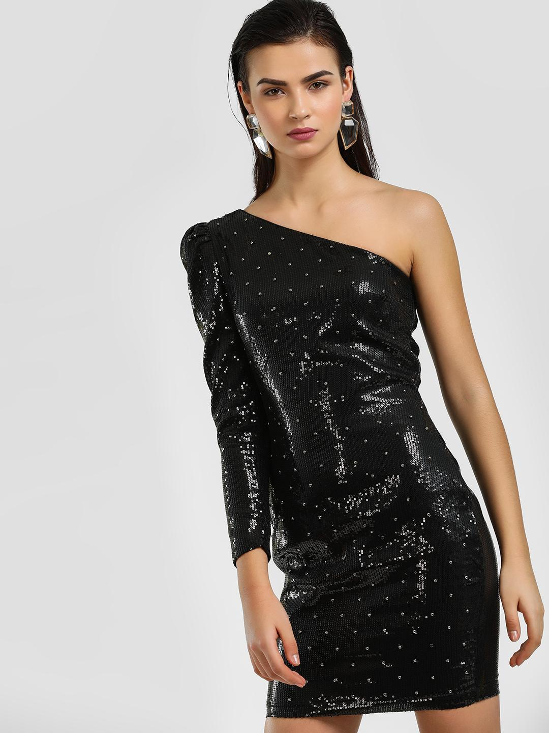 Cover Story Black One Shoulder Studded Sequin Bodycon Dress 1