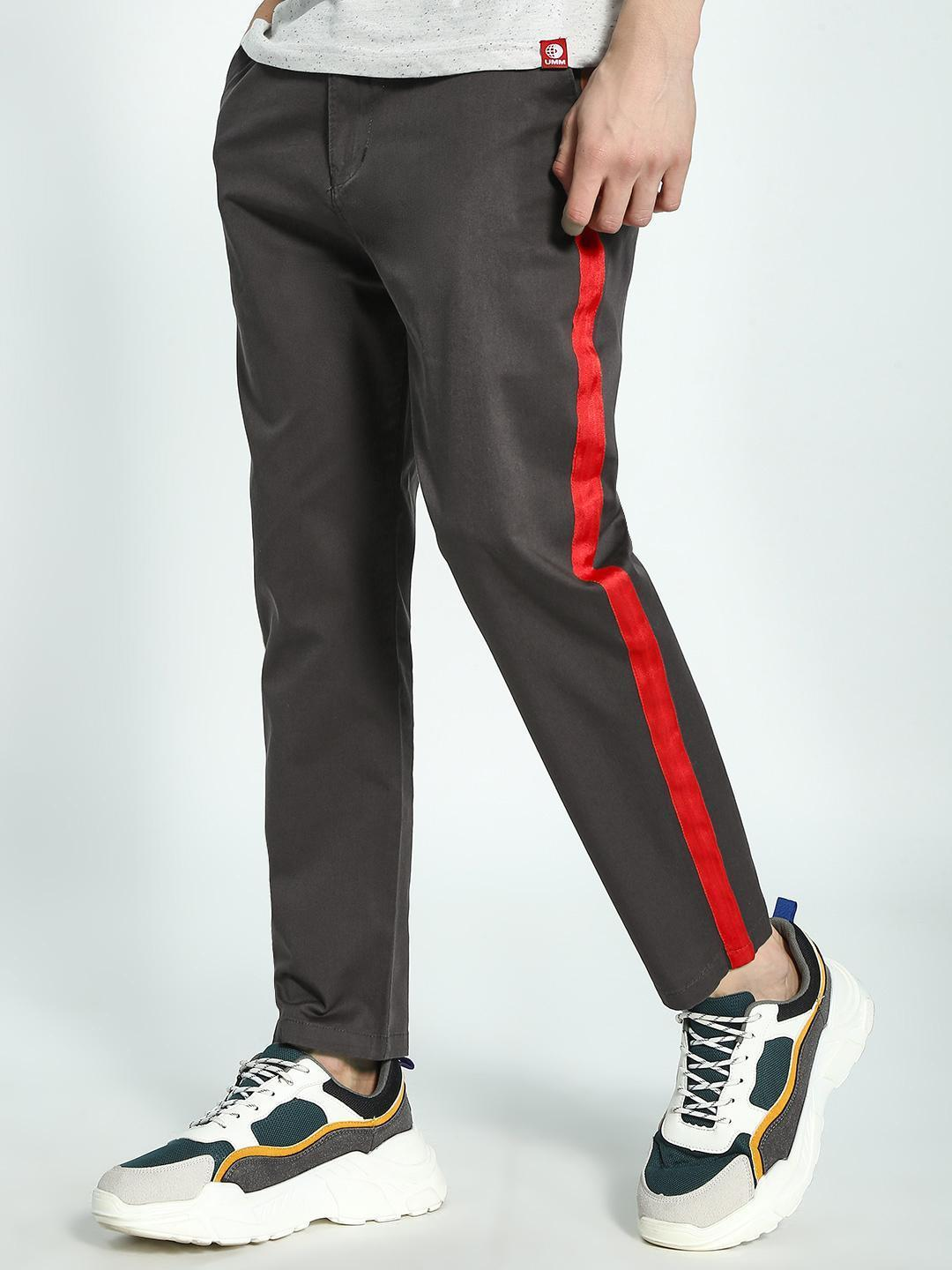 Spring Break Grey Contrast Side Tape Trousers 1