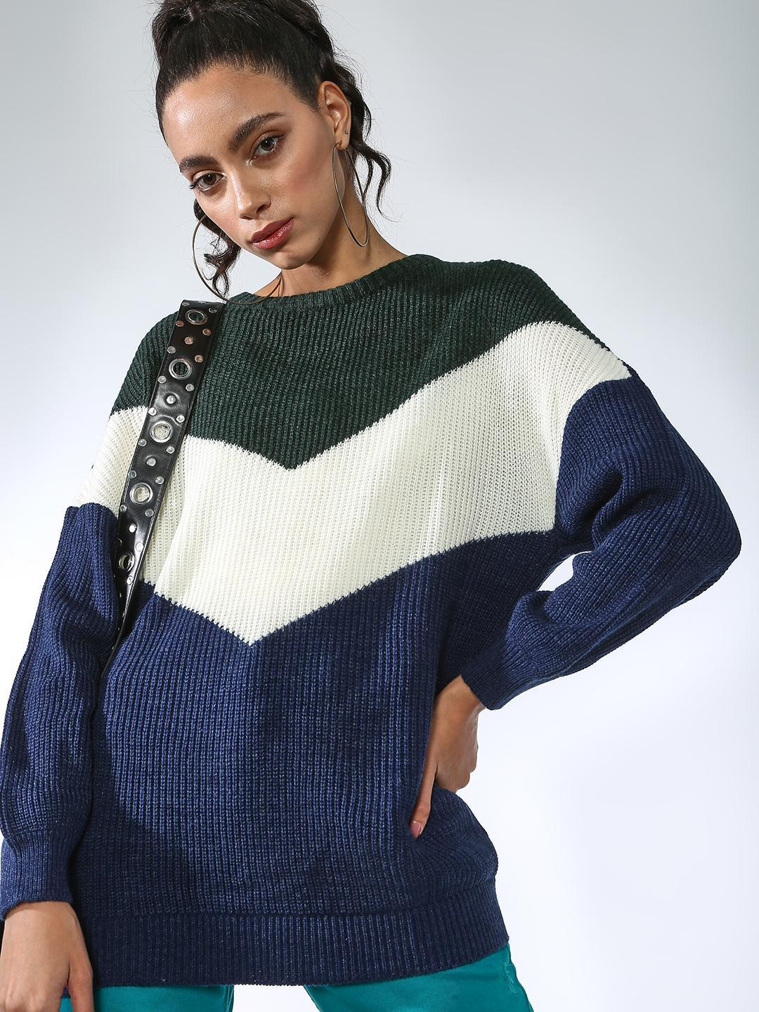Vajor Navy/White Color Block Pullovers 1
