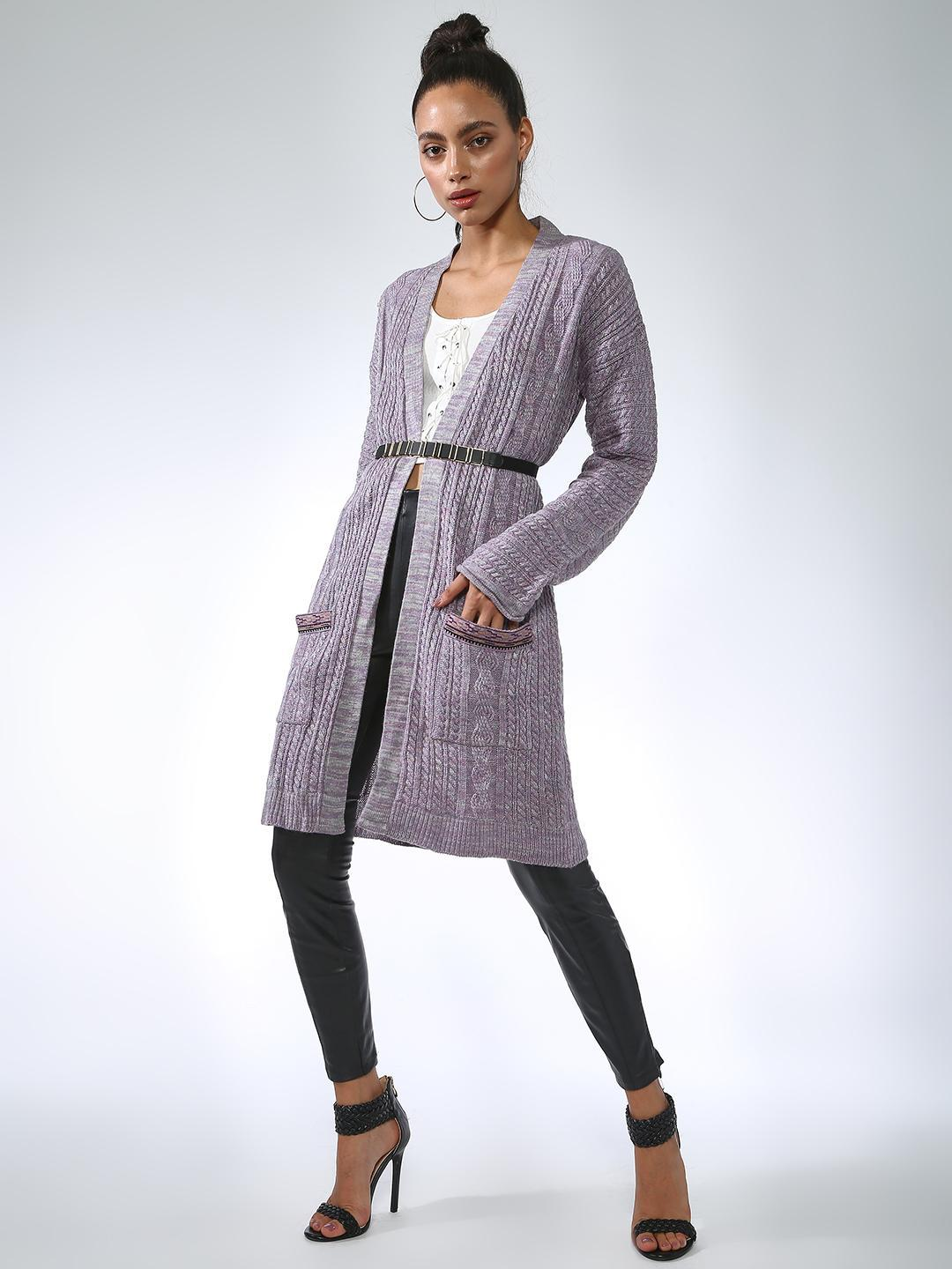 Vajor Purple Front Knitted Open Shrug 1