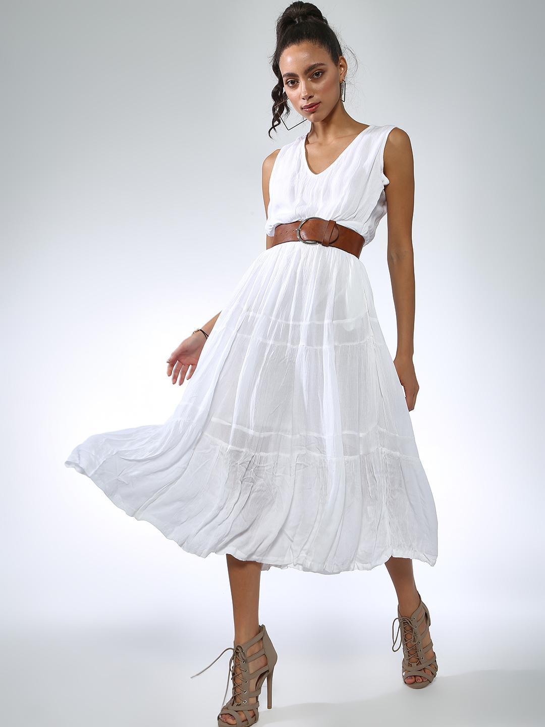 Vajor White Tiered  Sleeveless Midi Dresses 1