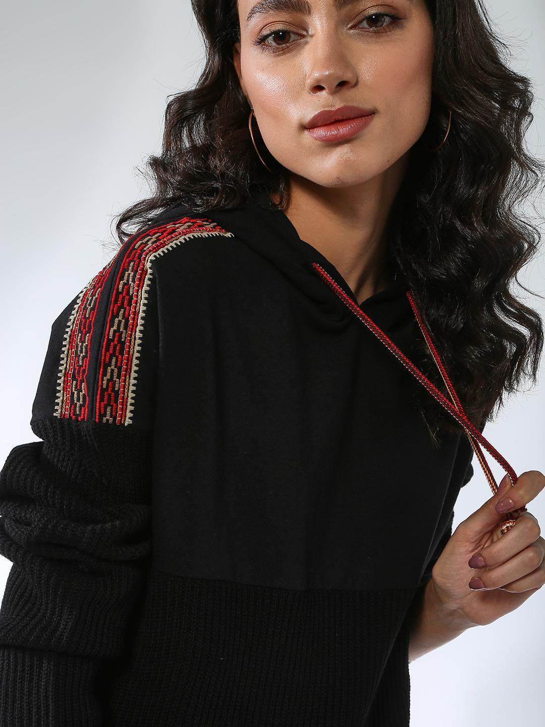 Vajor Black Knitted Embroidered Hoodie 1
