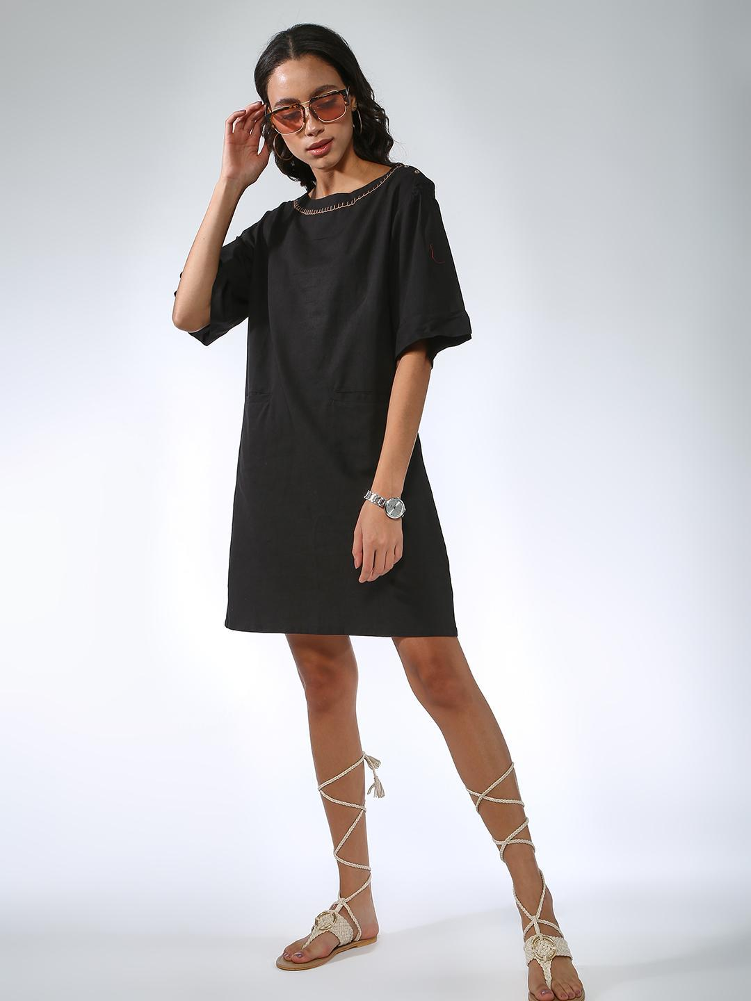 Vajor Black Contrast Scoop Neck Dress 1